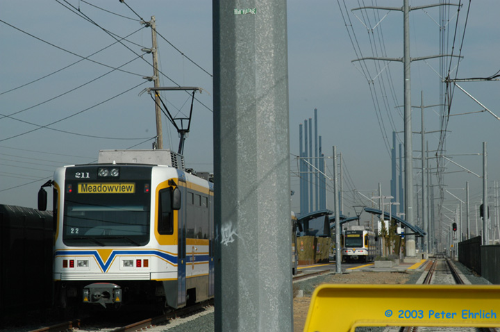 (121k, 720x478)<br><b>Country:</b> United States<br><b>City:</b> Sacramento, CA<br><b>System:</b> SACRT Light Rail<br><b>Location:</b> Meadowview <br><b>Car:</b> Sacramento CAF LRV  211 <br><b>Photo by:</b> Peter Ehrlich<br><b>Date:</b> 10/18/2003<br><b>Viewed (this week/total):</b> 0 / 1171