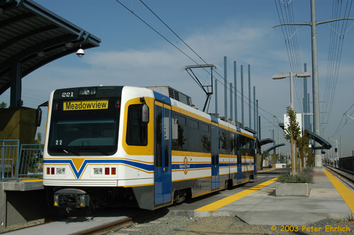 (136k, 720x478)<br><b>Country:</b> United States<br><b>City:</b> Sacramento, CA<br><b>System:</b> SACRT Light Rail<br><b>Location:</b> Meadowview <br><b>Car:</b> Sacramento CAF LRV  221 <br><b>Photo by:</b> Peter Ehrlich<br><b>Date:</b> 10/18/2003<br><b>Viewed (this week/total):</b> 2 / 1229