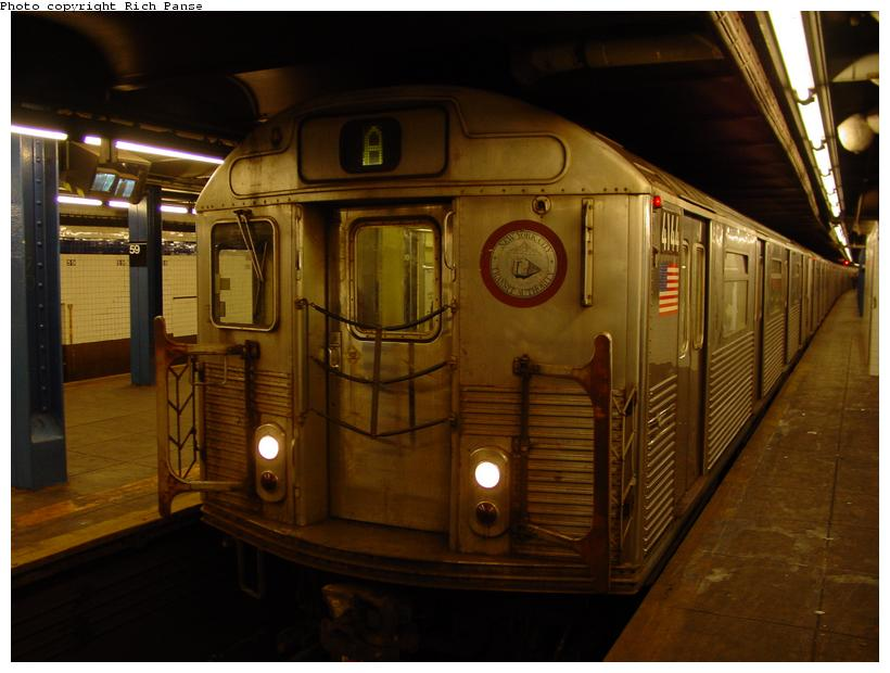 (70k, 820x620)<br><b>Country:</b> United States<br><b>City:</b> New York<br><b>System:</b> New York City Transit<br><b>Line:</b> IND 8th Avenue Line<br><b>Location:</b> 59th Street/Columbus Circle <br><b>Route:</b> A<br><b>Car:</b> R-38 (St. Louis, 1966-1967)  4144 <br><b>Photo by:</b> Richard Panse<br><b>Date:</b> 11/9/2003<br><b>Viewed (this week/total):</b> 0 / 4332