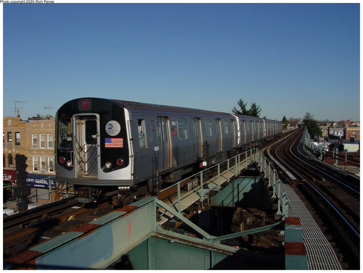 (69k, 820x620)<br><b>Country:</b> United States<br><b>City:</b> New York<br><b>System:</b> New York City Transit<br><b>Line:</b> BMT Myrtle Avenue Line<br><b>Location:</b> Forest Avenue <br><b>Route:</b> M<br><b>Car:</b> R-143 (Kawasaki, 2001-2002) 8193 <br><b>Photo by:</b> Richard Panse<br><b>Date:</b> 11/9/2003<br><b>Viewed (this week/total):</b> 0 / 5229