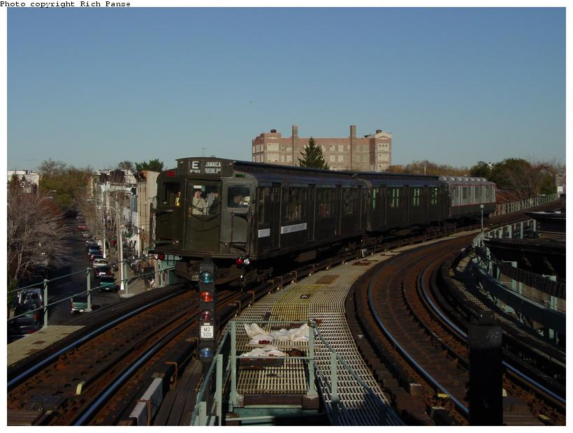 (75k, 820x620)<br><b>Country:</b> United States<br><b>City:</b> New York<br><b>System:</b> New York City Transit<br><b>Line:</b> BMT Myrtle Avenue Line<br><b>Location:</b> Seneca Avenue <br><b>Route:</b> Fan Trip<br><b>Car:</b> R-1 (American Car & Foundry, 1930-1931) 100 <br><b>Photo by:</b> Richard Panse<br><b>Date:</b> 11/9/2003<br><b>Viewed (this week/total):</b> 1 / 3629