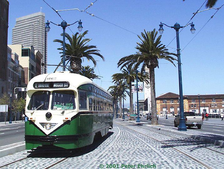 (106k, 715x540)<br><b>Country:</b> United States<br><b>City:</b> San Francisco/Bay Area, CA<br><b>System:</b> SF MUNI<br><b>Location:</b> Embarcadero/Howard <br><b>Route:</b> F-Market<br><b>Car:</b> SF MUNI PCC (Ex-SEPTA) (St. Louis Car Co., 1947-1948)  1062 <br><b>Photo by:</b> Peter Ehrlich<br><b>Date:</b> 4/25/2001<br><b>Viewed (this week/total):</b> 2 / 2717