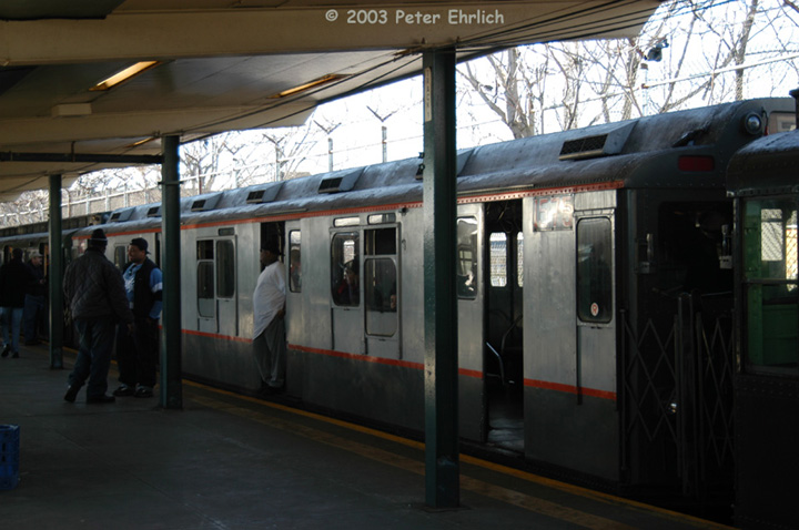 (124k, 720x478)<br><b>Country:</b> United States<br><b>City:</b> New York<br><b>System:</b> New York City Transit<br><b>Line:</b> BMT Canarsie Line<br><b>Location:</b> Rockaway Parkway <br><b>Route:</b> Fan Trip<br><b>Car:</b> R-7A (Pullman, 1938)  1575 <br><b>Photo by:</b> Peter Ehrlich<br><b>Date:</b> 12/28/2003<br><b>Viewed (this week/total):</b> 0 / 2563