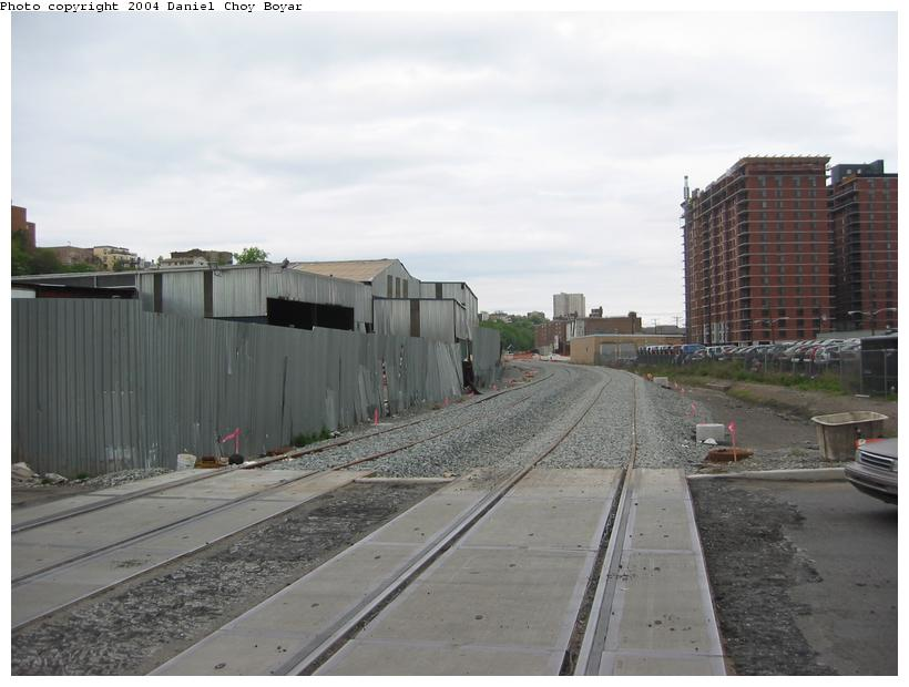 (67k, 820x620)<br><b>Country:</b> United States<br><b>City:</b> Hoboken, NJ<br><b>System:</b> Hudson Bergen Light Rail<br><b>Location:</b> Between Hoboken Wye and Paterson Ave. <br><b>Photo by:</b> Daniel C. Boyar<br><b>Date:</b> 5/16/2003<br><b>Notes:</b> New HBLR grade crossing on Observer Hwy (facing north)<br><b>Viewed (this week/total):</b> 3 / 2077