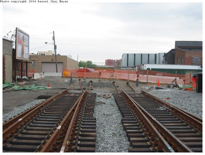 (85k, 820x620)<br><b>Country:</b> United States<br><b>City:</b> Hoboken, NJ<br><b>System:</b> Hudson Bergen Light Rail<br><b>Location:</b> Between Hoboken Wye and Paterson Ave. <br><b>Photo by:</b> Daniel C. Boyar<br><b>Date:</b> 5/16/2003<br><b>Notes:</b> Crossover north of Paterson Av. (facing south)<br><b>Viewed (this week/total):</b> 0 / 2005