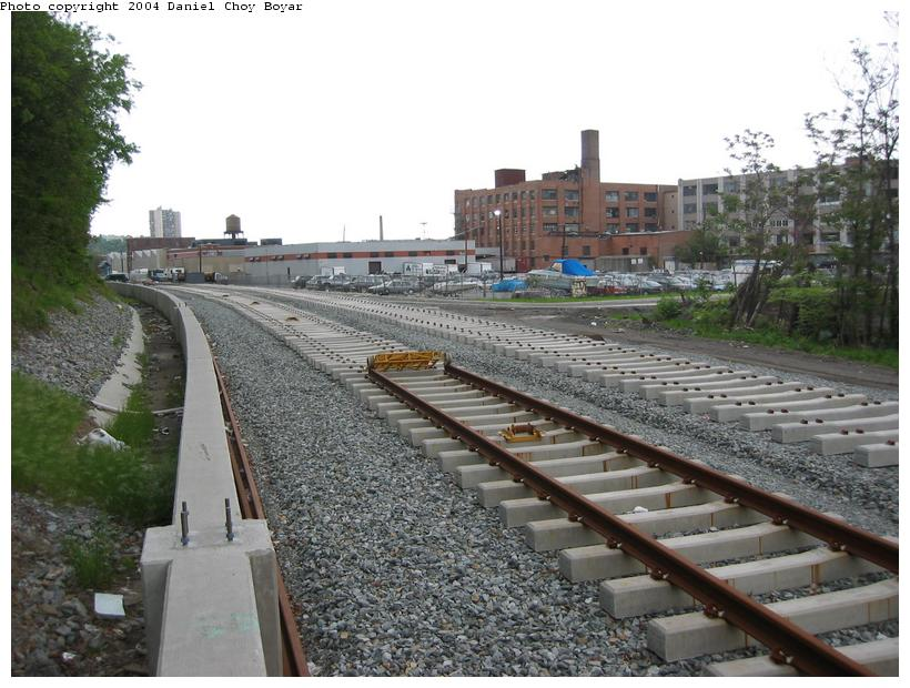 (98k, 820x620)<br><b>Country:</b> United States<br><b>City:</b> Hoboken, NJ<br><b>System:</b> Hudson Bergen Light Rail<br><b>Location:</b> Between 2nd Street and 9th Street <br><b>Photo by:</b> Daniel C. Boyar<br><b>Date:</b> 5/16/2003<br><b>Notes:</b> The rail ends<br><b>Viewed (this week/total):</b> 1 / 2215