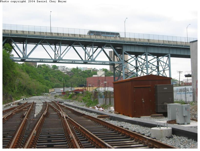 (91k, 820x620)<br><b>Country:</b> United States<br><b>City:</b> Hoboken, NJ<br><b>System:</b> Hudson Bergen Light Rail<br><b>Location:</b> Three Roads to Lincoln Harbor <br><b>Photo by:</b> Daniel C. Boyar<br><b>Date:</b> 5/16/2003<br><b>Notes:</b> 14th Street/Viaduct Street overpass<br><b>Viewed (this week/total):</b> 0 / 2443