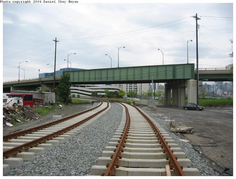 (86k, 820x620)<br><b>Country:</b> United States<br><b>City:</b> Hoboken, NJ<br><b>System:</b> Hudson Bergen Light Rail<br><b>Location:</b> Three Roads to Lincoln Harbor <br><b>Photo by:</b> Daniel C. Boyar<br><b>Date:</b> 5/16/2003<br><b>Notes:</b> Park Ave. overpass<br><b>Viewed (this week/total):</b> 0 / 2220