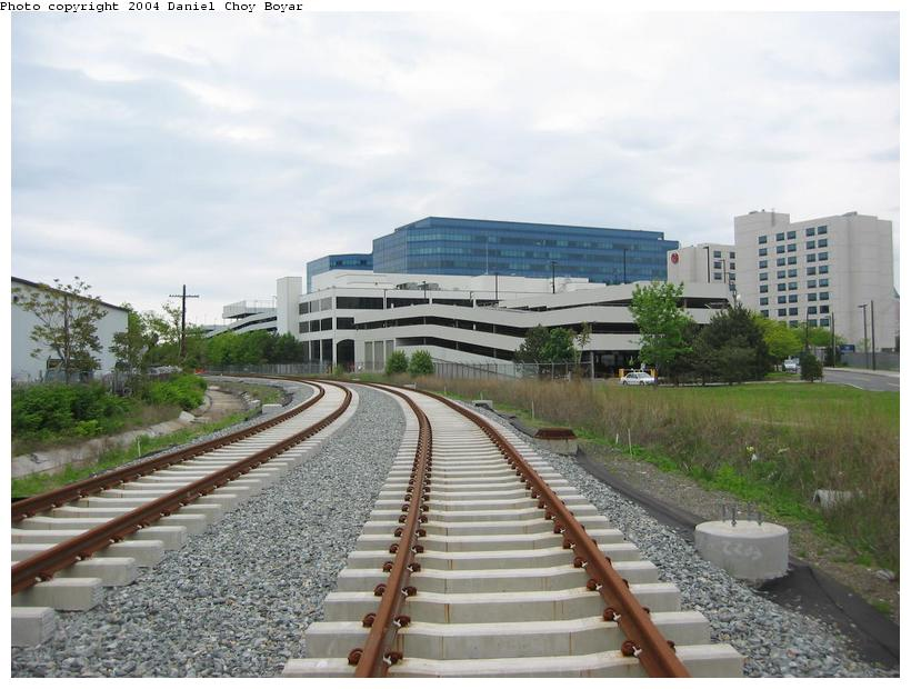 (85k, 820x620)<br><b>Country:</b> United States<br><b>City:</b> Hoboken, NJ<br><b>System:</b> Hudson Bergen Light Rail<br><b>Location:</b> Three Roads to Lincoln Harbor <br><b>Photo by:</b> Daniel C. Boyar<br><b>Date:</b> 5/16/2003<br><b>Notes:</b> North of Park Ave. heading into Lincoln Harbor<br><b>Viewed (this week/total):</b> 1 / 2178