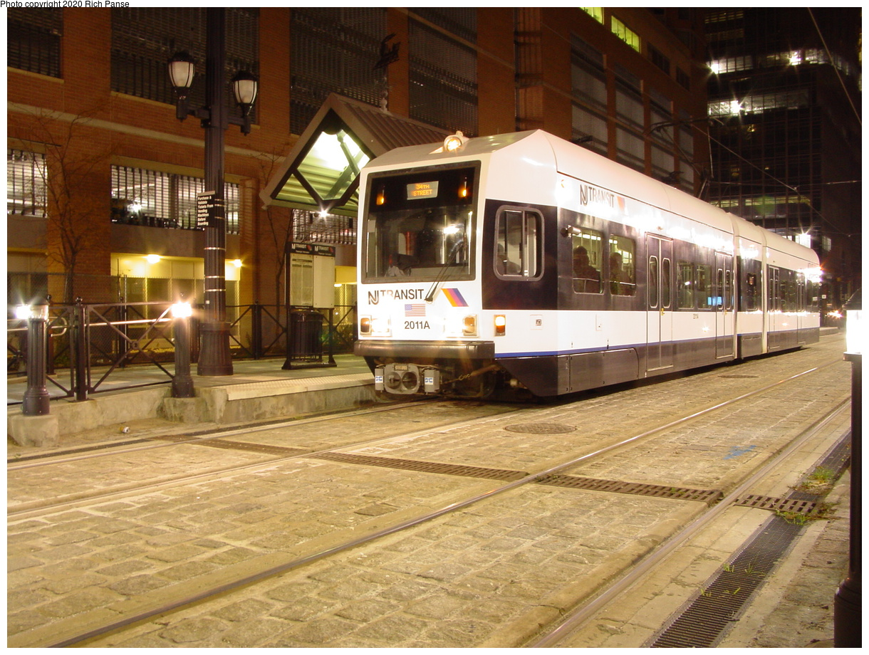 (96k, 820x620)<br><b>Country:</b> United States<br><b>City:</b> Jersey City, NJ<br><b>System:</b> Hudson Bergen Light Rail<br><b>Location:</b> Essex Street <br><b>Car:</b> NJT-HBLR LRV (Kinki-Sharyo, 1998-99)  2011 <br><b>Photo by:</b> Richard Panse<br><b>Date:</b> 10/28/2003<br><b>Viewed (this week/total):</b> 0 / 2564