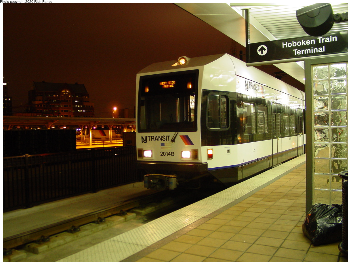 (75k, 820x620)<br><b>Country:</b> United States<br><b>City:</b> Hoboken, NJ<br><b>System:</b> Hudson Bergen Light Rail<br><b>Location:</b> Hoboken <br><b>Car:</b> NJT-HBLR LRV (Kinki-Sharyo, 1998-99)  2014 <br><b>Photo by:</b> Richard Panse<br><b>Date:</b> 10/28/2003<br><b>Viewed (this week/total):</b> 0 / 2992
