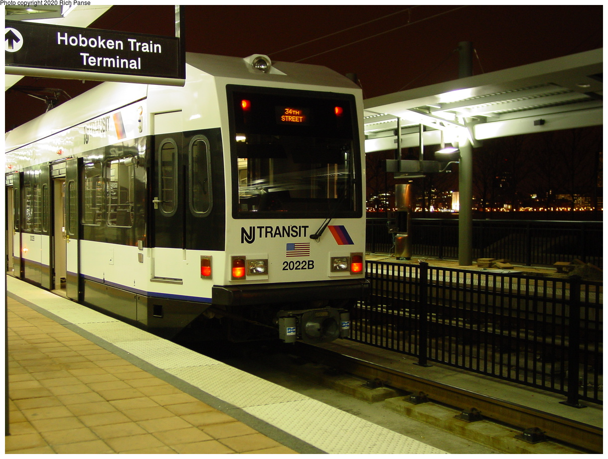 (81k, 820x620)<br><b>Country:</b> United States<br><b>City:</b> Hoboken, NJ<br><b>System:</b> Hudson Bergen Light Rail<br><b>Location:</b> Hoboken <br><b>Car:</b> NJT-HBLR LRV (Kinki-Sharyo, 1998-99)  2022 <br><b>Photo by:</b> Richard Panse<br><b>Date:</b> 10/28/2003<br><b>Viewed (this week/total):</b> 1 / 2860