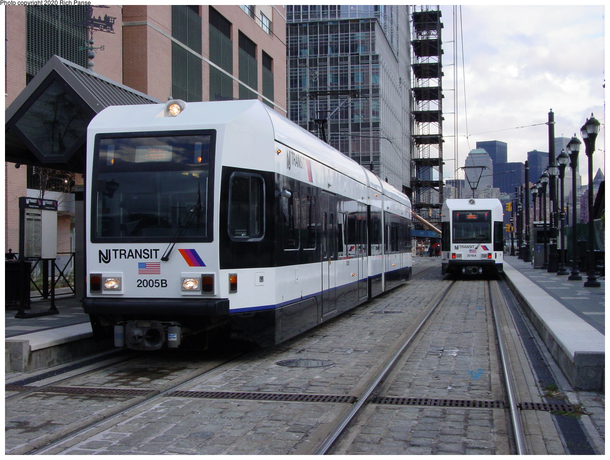 (96k, 820x620)<br><b>Country:</b> United States<br><b>City:</b> Jersey City, NJ<br><b>System:</b> Hudson Bergen Light Rail<br><b>Location:</b> Essex Street <br><b>Car:</b> NJT-HBLR LRV (Kinki-Sharyo, 1998-99)  2005 <br><b>Photo by:</b> Richard Panse<br><b>Date:</b> 10/29/2003<br><b>Viewed (this week/total):</b> 0 / 2458