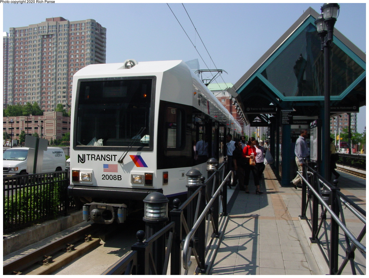 (88k, 820x620)<br><b>Country:</b> United States<br><b>City:</b> Jersey City, NJ<br><b>System:</b> Hudson Bergen Light Rail<br><b>Location:</b> Harborside <br><b>Car:</b> NJT-HBLR LRV (Kinki-Sharyo, 1998-99)  2008 <br><b>Photo by:</b> Richard Panse<br><b>Date:</b> 6/24/2003<br><b>Viewed (this week/total):</b> 1 / 2524