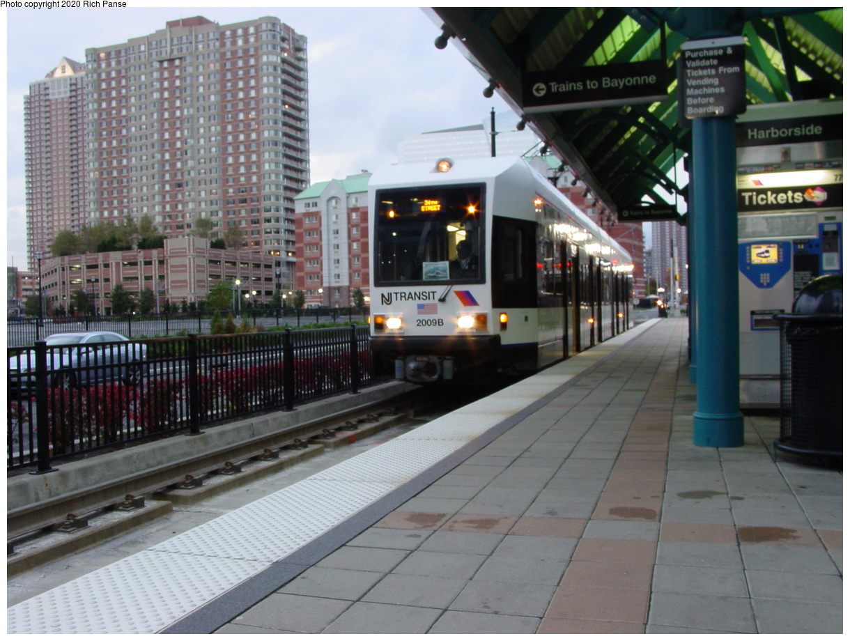 (85k, 820x620)<br><b>Country:</b> United States<br><b>City:</b> Jersey City, NJ<br><b>System:</b> Hudson Bergen Light Rail<br><b>Location:</b> Harborside <br><b>Car:</b> NJT-HBLR LRV (Kinki-Sharyo, 1998-99)  2009 <br><b>Photo by:</b> Richard Panse<br><b>Date:</b> 10/29/2003<br><b>Viewed (this week/total):</b> 1 / 2574