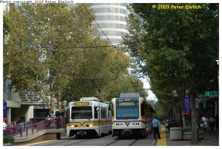 (86k, 740x498)<br><b>Country:</b> United States<br><b>City:</b> Sacramento, CA<br><b>System:</b> SACRT Light Rail<br><b>Location:</b> Cathedral Square <br><b>Car:</b> Sacramento Siemens LRV  119 <br><b>Photo by:</b> Peter Ehrlich<br><b>Date:</b> 10/18/2003<br><b>Notes:</b> South Line trains terminate here, but the last inbound passenger stop is St. Rose of Lima Park.<br><b>Viewed (this week/total):</b> 0 / 1713