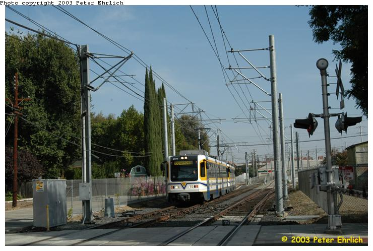 (72k, 740x498)<br><b>Country:</b> United States<br><b>City:</b> Sacramento, CA<br><b>System:</b> SACRT Light Rail<br><b>Location:</b> Bee Junction/Bee Bridge <br><b>Car:</b> Sacramento CAF LRV  207 <br><b>Photo by:</b> Peter Ehrlich<br><b>Date:</b> 10/18/2003<br><b>Viewed (this week/total):</b> 0 / 1255