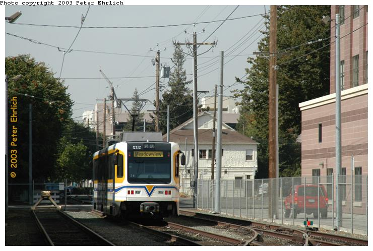(73k, 740x498)<br><b>Country:</b> United States<br><b>City:</b> Sacramento, CA<br><b>System:</b> SACRT Light Rail<br><b>Location:</b> 12th St. Yard <br><b>Car:</b> Sacramento CAF LRV  212 <br><b>Photo by:</b> Peter Ehrlich<br><b>Date:</b> 10/18/2003<br><b>Viewed (this week/total):</b> 0 / 1599