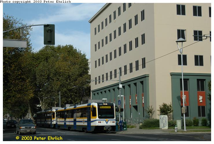 (64k, 740x498)<br><b>Country:</b> United States<br><b>City:</b> Sacramento, CA<br><b>System:</b> SACRT Light Rail<br><b>Location:</b> 7th & Capitol <br><b>Car:</b> Sacramento CAF LRV  215 <br><b>Photo by:</b> Peter Ehrlich<br><b>Date:</b> 10/18/2003<br><b>Viewed (this week/total):</b> 3 / 1273