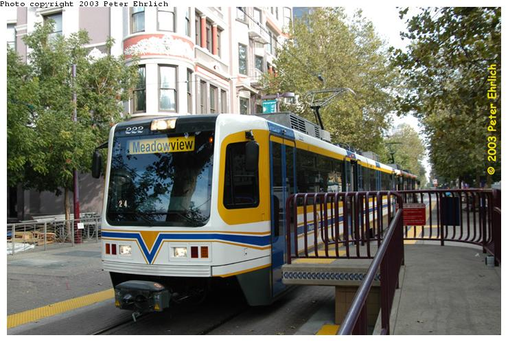 (88k, 740x498)<br><b>Country:</b> United States<br><b>City:</b> Sacramento, CA<br><b>System:</b> SACRT Light Rail<br><b>Location:</b> St. Rose of Lima Park <br><b>Car:</b> Sacramento CAF LRV  222 <br><b>Photo by:</b> Peter Ehrlich<br><b>Date:</b> 10/18/2003<br><b>Viewed (this week/total):</b> 0 / 1737