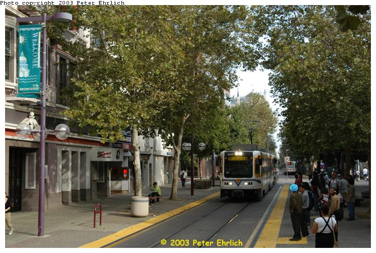 (93k, 740x498)<br><b>Country:</b> United States<br><b>City:</b> Sacramento, CA<br><b>System:</b> SACRT Light Rail<br><b>Location:</b> 8th & K <br><b>Car:</b> Sacramento CAF LRV  222 <br><b>Photo by:</b> Peter Ehrlich<br><b>Date:</b> 10/18/2003<br><b>Viewed (this week/total):</b> 1 / 1452