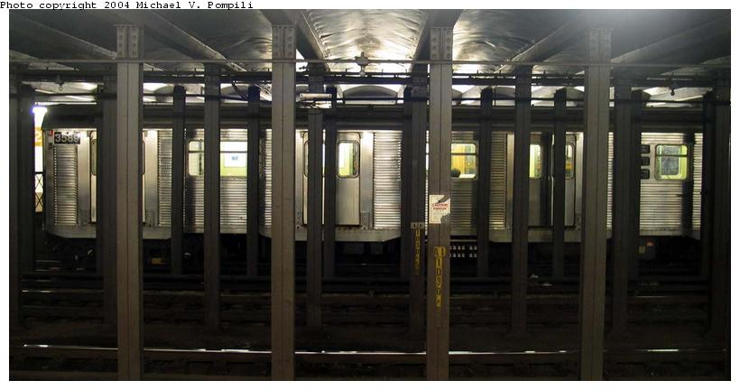 (63k, 820x432)<br><b>Country:</b> United States<br><b>City:</b> New York<br><b>System:</b> New York City Transit<br><b>Line:</b> IND 8th Avenue Line<br><b>Location:</b> 23rd Street <br><b>Route:</b> E<br><b>Car:</b> R-32 (Budd, 1964)  3589 <br><b>Photo by:</b> Michael Pompili<br><b>Date:</b> 12/4/2003<br><b>Viewed (this week/total):</b> 3 / 5242