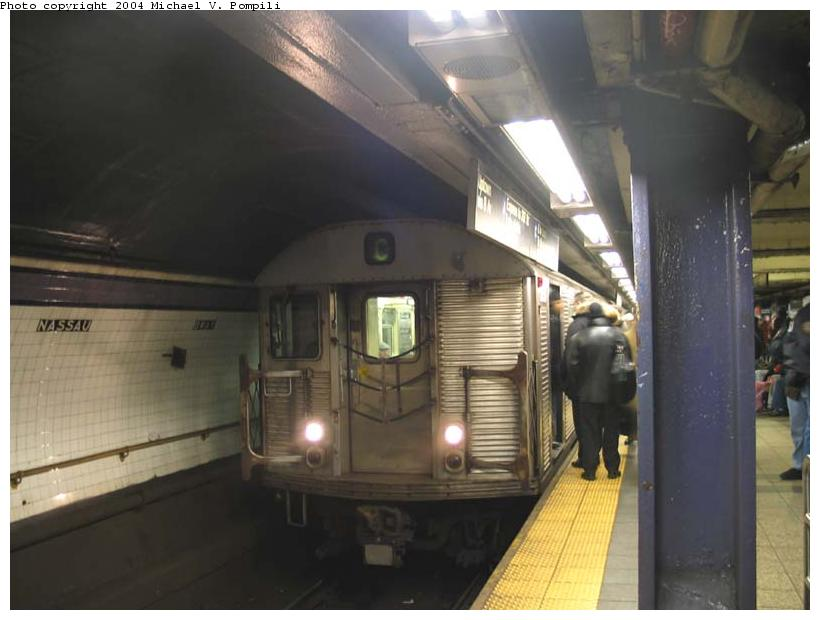 (67k, 820x620)<br><b>Country:</b> United States<br><b>City:</b> New York<br><b>System:</b> New York City Transit<br><b>Line:</b> IND 8th Avenue Line<br><b>Location:</b> Fulton Street (Broadway/Nassau) <br><b>Route:</b> C<br><b>Car:</b> R-32 (Budd, 1964)  3658 <br><b>Photo by:</b> Michael Pompili<br><b>Date:</b> 12/3/2003<br><b>Viewed (this week/total):</b> 0 / 5683