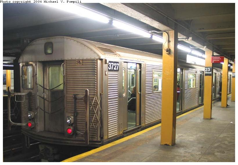 (80k, 820x570)<br><b>Country:</b> United States<br><b>City:</b> New York<br><b>System:</b> New York City Transit<br><b>Line:</b> IND 8th Avenue Line<br><b>Location:</b> 23rd Street <br><b>Route:</b> E<br><b>Car:</b> R-32 (Budd, 1964)  3727 <br><b>Photo by:</b> Michael Pompili<br><b>Date:</b> 12/4/2003<br><b>Viewed (this week/total):</b> 0 / 4012