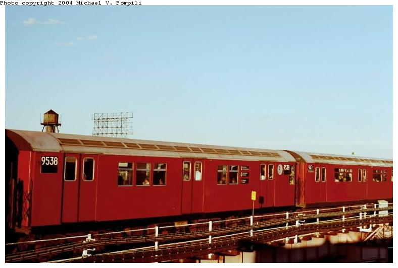 (48k, 788x532)<br><b>Country:</b> United States<br><b>City:</b> New York<br><b>System:</b> New York City Transit<br><b>Line:</b> IRT Flushing Line<br><b>Location:</b> Queensborough Plaza <br><b>Route:</b> 7<br><b>Car:</b> R-36 Main Line (St. Louis, 1964) 9539 <br><b>Photo by:</b> Michael Pompili<br><b>Date:</b> 6/29/2001<br><b>Viewed (this week/total):</b> 0 / 1569