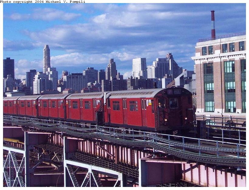 (113k, 820x626)<br><b>Country:</b> United States<br><b>City:</b> New York<br><b>System:</b> New York City Transit<br><b>Line:</b> IRT Flushing Line<br><b>Location:</b> Queensborough Plaza <br><b>Route:</b> 7<br><b>Car:</b> R-36 World's Fair (St. Louis, 1963-64) 9585 <br><b>Photo by:</b> Michael Pompili<br><b>Date:</b> 11/20/2001<br><b>Viewed (this week/total):</b> 5 / 2734