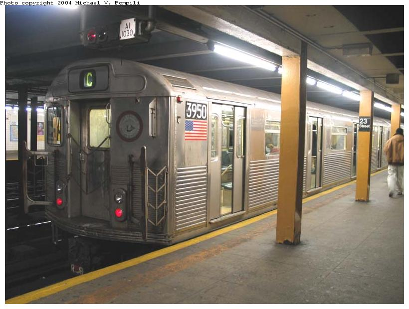 (80k, 820x620)<br><b>Country:</b> United States<br><b>City:</b> New York<br><b>System:</b> New York City Transit<br><b>Line:</b> IND 8th Avenue Line<br><b>Location:</b> 23rd Street <br><b>Route:</b> C<br><b>Car:</b> R-38 (St. Louis, 1966-1967)  3950 <br><b>Photo by:</b> Michael Pompili<br><b>Date:</b> 12/4/2003<br><b>Viewed (this week/total):</b> 0 / 9799