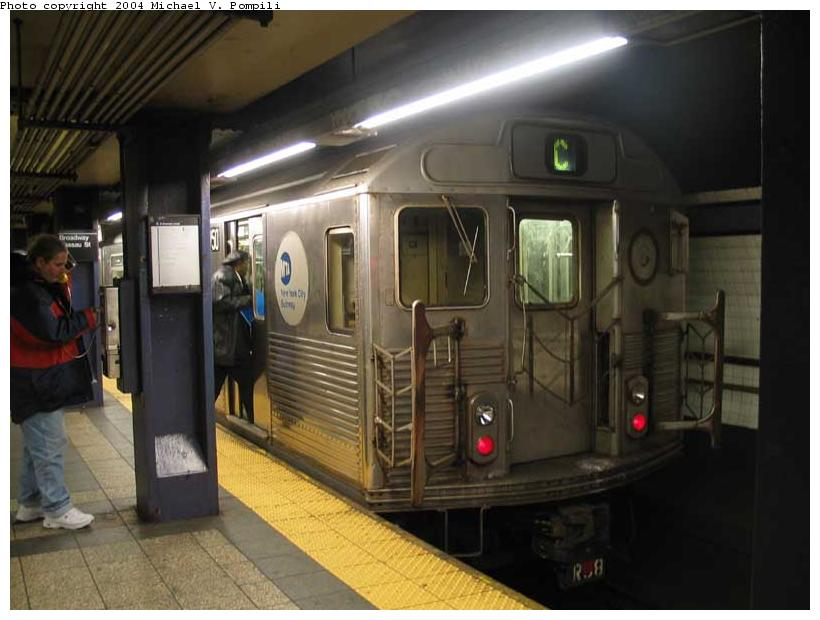 (76k, 820x620)<br><b>Country:</b> United States<br><b>City:</b> New York<br><b>System:</b> New York City Transit<br><b>Line:</b> IND 8th Avenue Line<br><b>Location:</b> Fulton Street (Broadway/Nassau) <br><b>Route:</b> C<br><b>Car:</b> R-38 (St. Louis, 1966-1967)  3950 <br><b>Photo by:</b> Michael Pompili<br><b>Date:</b> 12/4/2003<br><b>Viewed (this week/total):</b> 2 / 4622