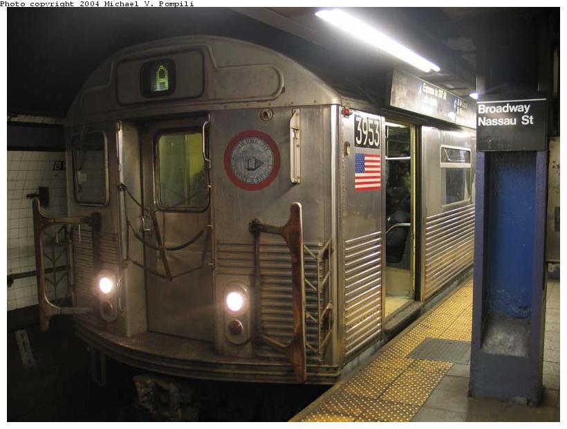 (76k, 820x620)<br><b>Country:</b> United States<br><b>City:</b> New York<br><b>System:</b> New York City Transit<br><b>Line:</b> IND 8th Avenue Line<br><b>Location:</b> Fulton Street (Broadway/Nassau) <br><b>Route:</b> A<br><b>Car:</b> R-38 (St. Louis, 1966-1967)  3953 <br><b>Photo by:</b> Michael Pompili<br><b>Date:</b> 12/3/2003<br><b>Viewed (this week/total):</b> 1 / 4572