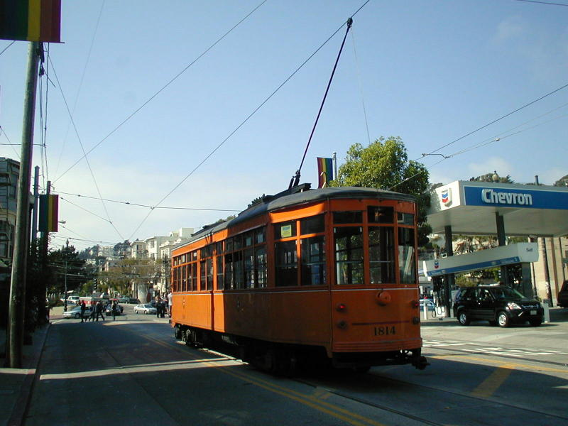 (76k, 800x600)<br><b>Country:</b> United States<br><b>City:</b> San Francisco/Bay Area, CA<br><b>System:</b> SF MUNI<br><b>Location:</b> Market/17th/Castro <br><b>Route:</b> F-Market<br><b>Car:</b> Milan Milano/Peter Witt (1927-1930)  1814 <br><b>Photo by:</b> Todd Glickman<br><b>Date:</b> 9/28/2003<br><b>Viewed (this week/total):</b> 0 / 736