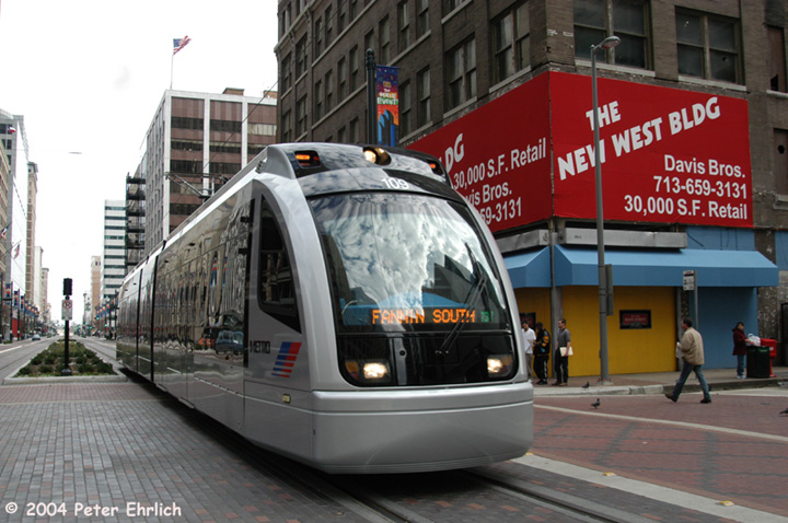 (148k, 720x478)<br><b>Country:</b> United States<br><b>City:</b> Houston, TX<br><b>System:</b> Houston METRORail<br><b>Location:</b> Main & Walker <br><b>Car:</b> Siemens Avanto 109 <br><b>Photo by:</b> Peter Ehrlich<br><b>Date:</b> 2/6/2004<br><b>Notes:</b> Note single tracking on inbound track<br><b>Viewed (this week/total):</b> 4 / 4742