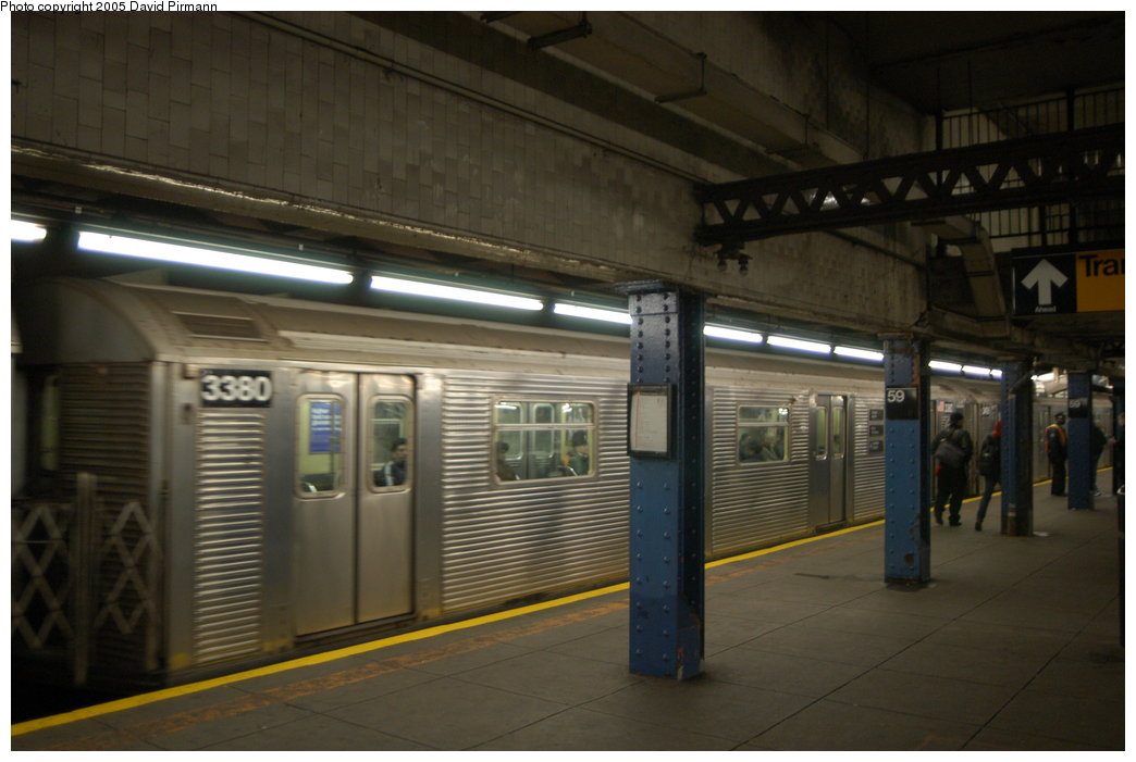 (167k, 1044x701)<br><b>Country:</b> United States<br><b>City:</b> New York<br><b>System:</b> New York City Transit<br><b>Line:</b> IND 8th Avenue Line<br><b>Location:</b> 59th Street/Columbus Circle <br><b>Route:</b> A<br><b>Car:</b> R-32 (Budd, 1964)  3380 <br><b>Photo by:</b> David Pirmann<br><b>Date:</b> 2/29/2004<br><b>Viewed (this week/total):</b> 2 / 5057