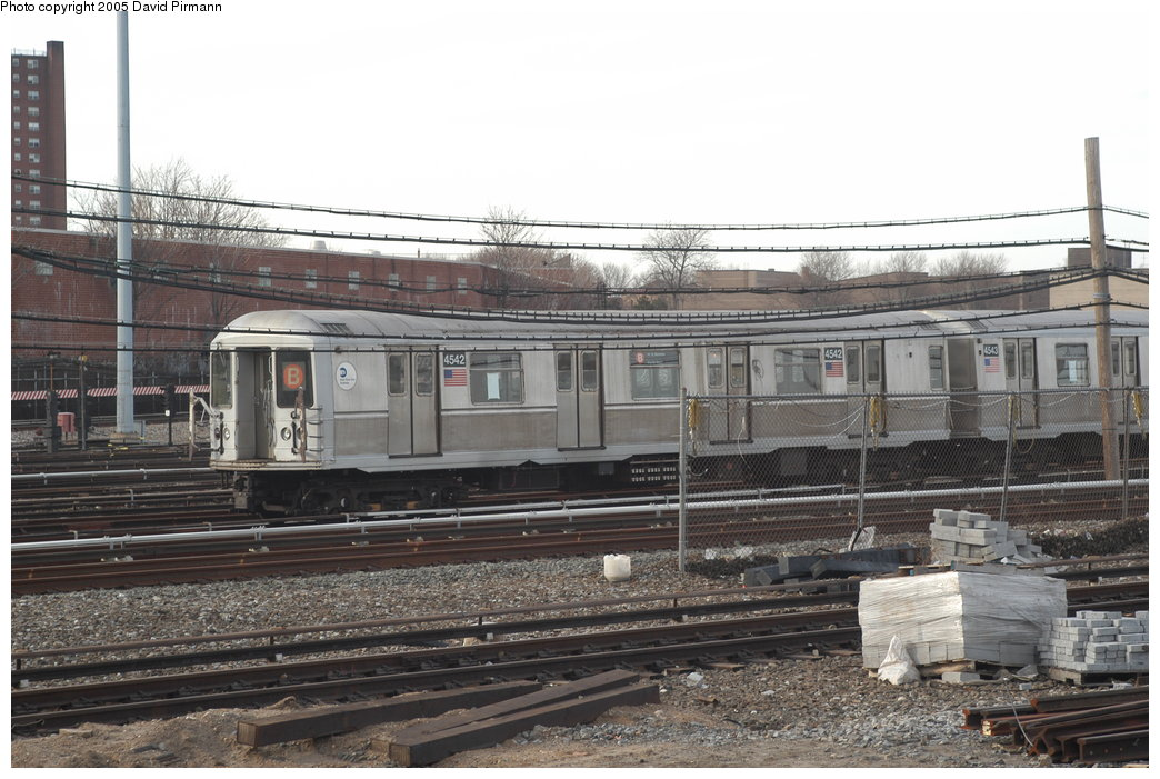 (205k, 1044x701)<br><b>Country:</b> United States<br><b>City:</b> New York<br><b>System:</b> New York City Transit<br><b>Location:</b> Coney Island Yard<br><b>Car:</b> R-40M (St. Louis, 1969)  4542 <br><b>Photo by:</b> David Pirmann<br><b>Date:</b> 2/29/2004<br><b>Viewed (this week/total):</b> 0 / 3570