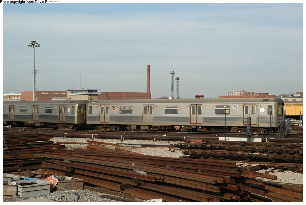 (183k, 1044x701)<br><b>Country:</b> United States<br><b>City:</b> New York<br><b>System:</b> New York City Transit<br><b>Location:</b> Coney Island Yard<br><b>Car:</b> R-68 (Westinghouse-Amrail, 1986-1988)  2784 <br><b>Photo by:</b> David Pirmann<br><b>Date:</b> 2/29/2004<br><b>Viewed (this week/total):</b> 1 / 4534