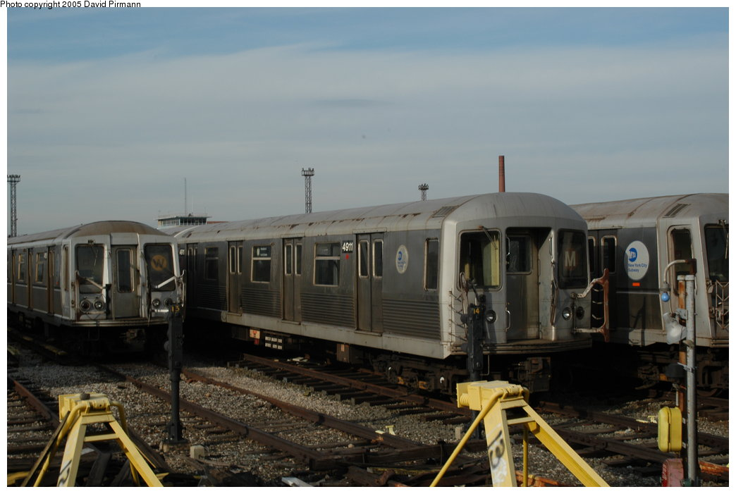 (162k, 1044x701)<br><b>Country:</b> United States<br><b>City:</b> New York<br><b>System:</b> New York City Transit<br><b>Location:</b> Coney Island Yard<br><b>Car:</b> R-42 (St. Louis, 1969-1970)  4911 <br><b>Photo by:</b> David Pirmann<br><b>Date:</b> 2/29/2004<br><b>Viewed (this week/total):</b> 1 / 2966