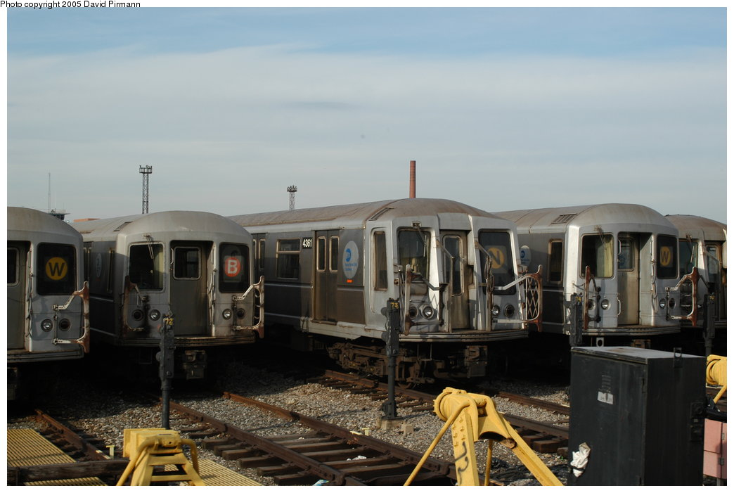 (166k, 1044x701)<br><b>Country:</b> United States<br><b>City:</b> New York<br><b>System:</b> New York City Transit<br><b>Location:</b> Coney Island Yard<br><b>Car:</b> R-40 (St. Louis, 1968)  4361 <br><b>Photo by:</b> David Pirmann<br><b>Date:</b> 2/29/2004<br><b>Viewed (this week/total):</b> 3 / 4015