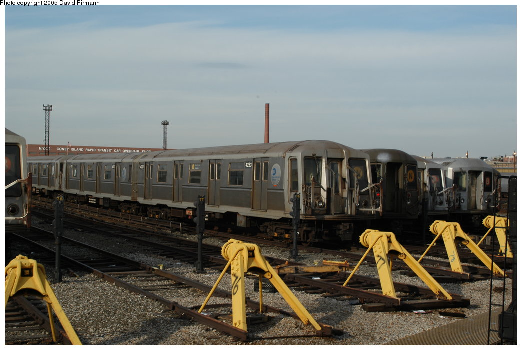 (189k, 1044x701)<br><b>Country:</b> United States<br><b>City:</b> New York<br><b>System:</b> New York City Transit<br><b>Location:</b> Coney Island Yard<br><b>Car:</b> R-40 (St. Louis, 1968)  4233 <br><b>Photo by:</b> David Pirmann<br><b>Date:</b> 2/29/2004<br><b>Viewed (this week/total):</b> 0 / 3475