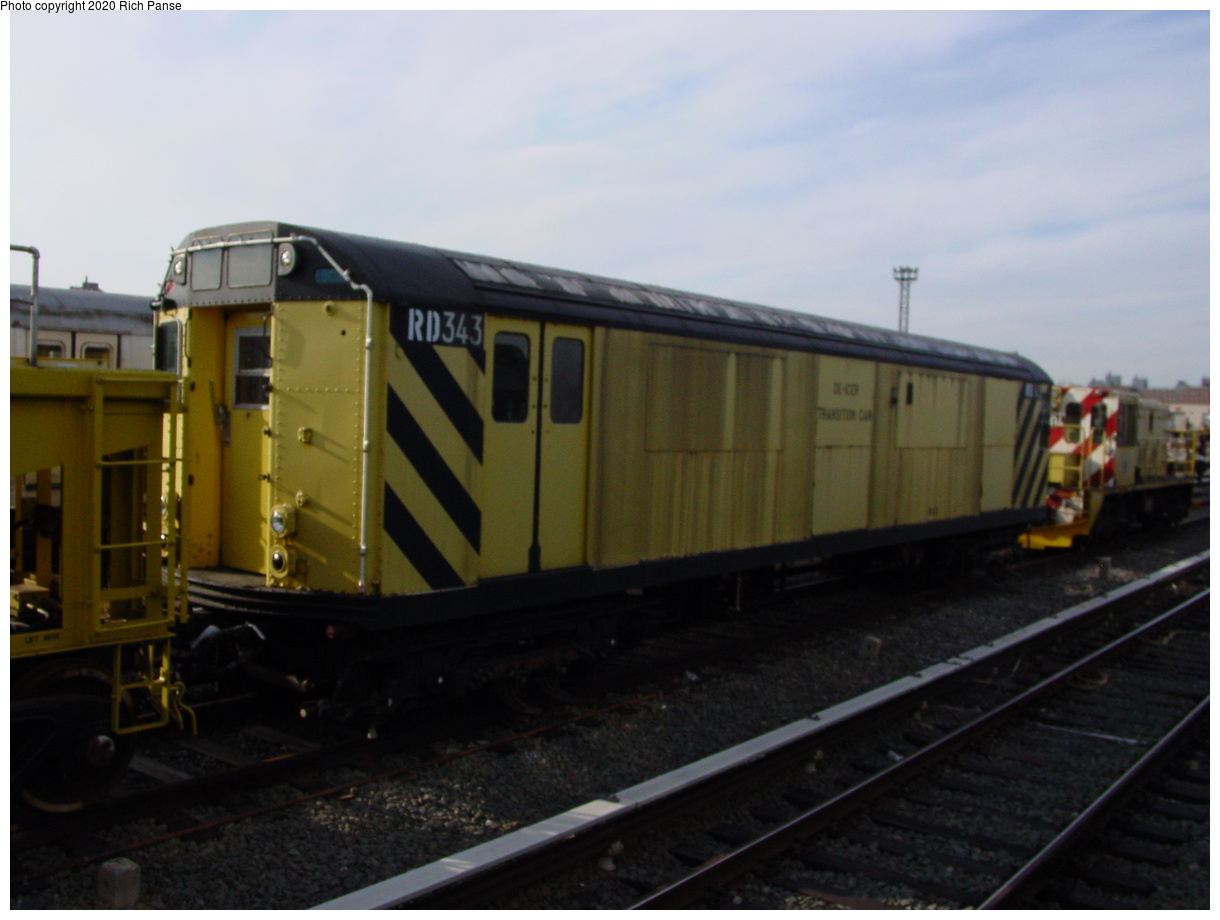 (64k, 820x620)<br><b>Country:</b> United States<br><b>City:</b> New York<br><b>System:</b> New York City Transit<br><b>Location:</b> Coney Island Yard<br><b>Car:</b> R-71 Rider Car (R-17/R-21/R-22 Rebuilds)  RD343 (ex-7343)<br><b>Photo by:</b> Richard Panse<br><b>Date:</b> 2/29/2004<br><b>Notes:</b> De-icer car.<br><b>Viewed (this week/total):</b> 0 / 1932