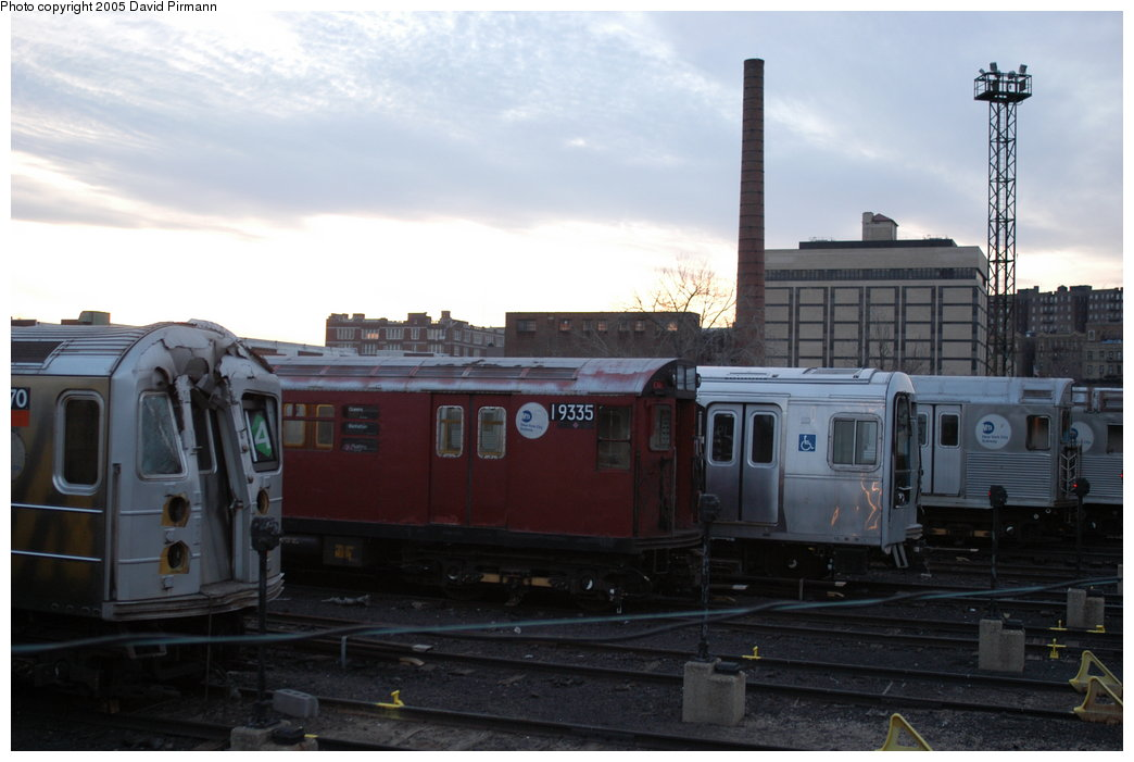 (157k, 1044x701)<br><b>Country:</b> United States<br><b>City:</b> New York<br><b>System:</b> New York City Transit<br><b>Location:</b> 207th Street Yard<br><b>Car:</b> R-33 World's Fair (St. Louis, 1963-64) 9335 <br><b>Photo by:</b> David Pirmann<br><b>Date:</b> 2/29/2004<br><b>Notes:</b> With R62 1370<br><b>Viewed (this week/total):</b> 0 / 3695
