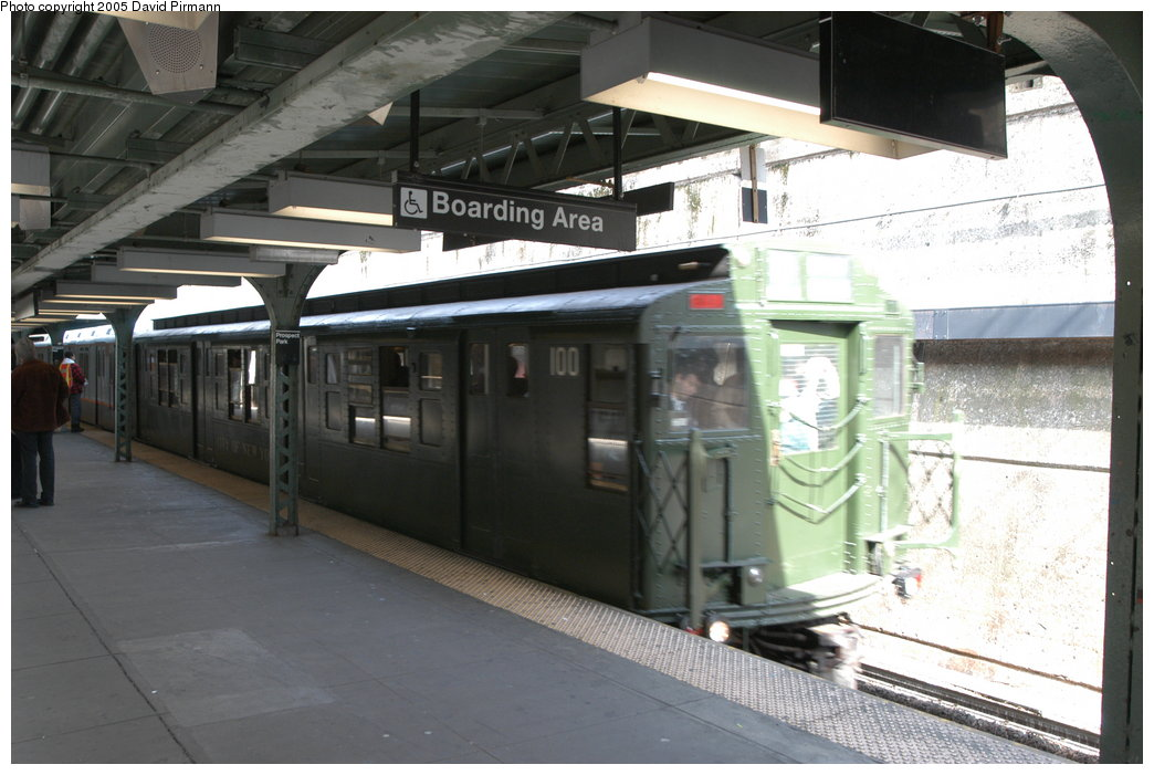 (192k, 1044x701)<br><b>Country:</b> United States<br><b>City:</b> New York<br><b>System:</b> New York City Transit<br><b>Line:</b> BMT Franklin<br><b>Location:</b> Prospect Park <br><b>Route:</b> Franklin Shuttle<br><b>Car:</b> R-1 (American Car & Foundry, 1930-1931) 100 <br><b>Photo by:</b> David Pirmann<br><b>Date:</b> 2/29/2004<br><b>Notes:</b> Train departing <u>in service</u> on the Franklin Shuttle (made three round trips in service)<br><b>Viewed (this week/total):</b> 0 / 3608