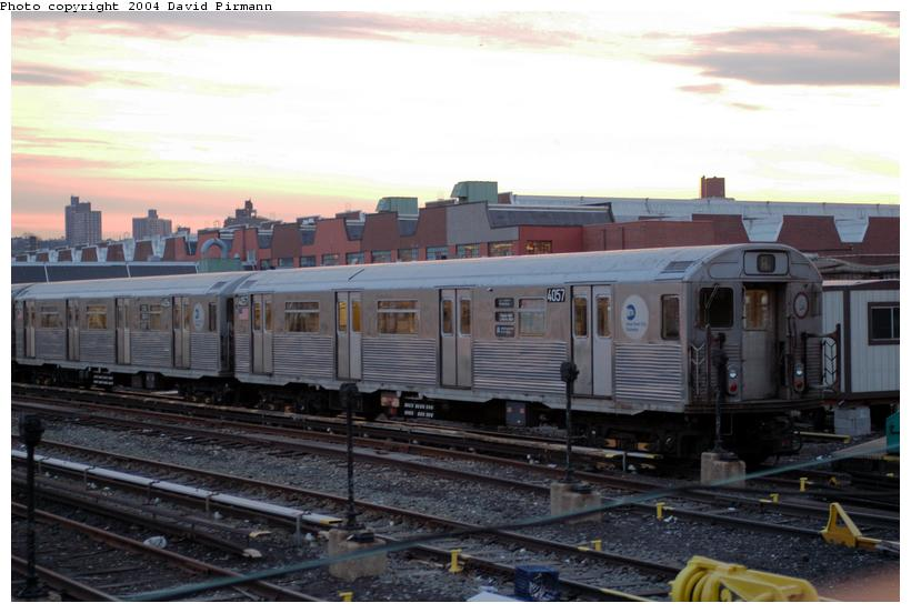(112k, 820x552)<br><b>Country:</b> United States<br><b>City:</b> New York<br><b>System:</b> New York City Transit<br><b>Location:</b> 207th Street Yard<br><b>Car:</b> R-38 (St. Louis, 1966-1967)  4057 <br><b>Photo by:</b> David Pirmann<br><b>Date:</b> 2/29/2004<br><b>Viewed (this week/total):</b> 0 / 3077