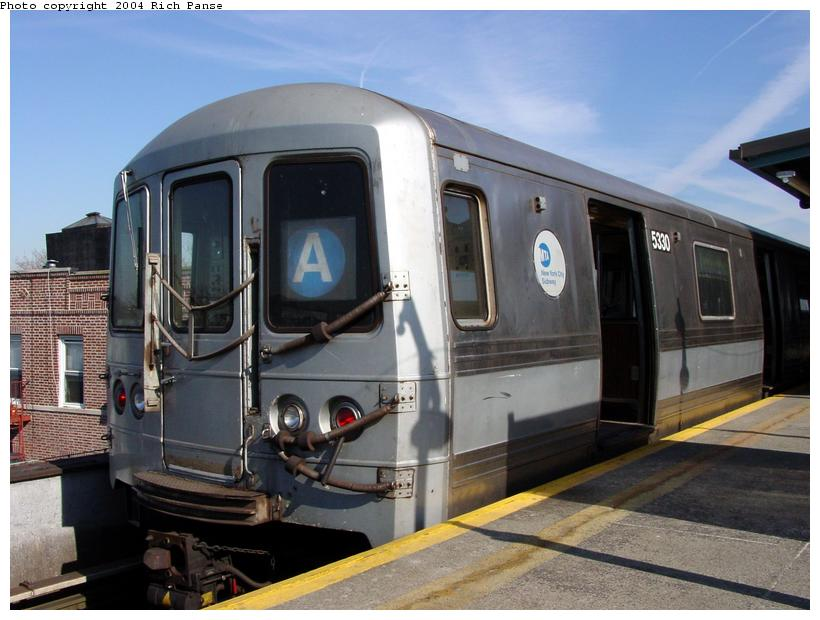 (81k, 820x620)<br><b>Country:</b> United States<br><b>City:</b> New York<br><b>System:</b> New York City Transit<br><b>Line:</b> IND Fulton Street Line<br><b>Location:</b> Lefferts Boulevard <br><b>Route:</b> A<br><b>Car:</b> R-44 (St. Louis, 1971-73) 5330 <br><b>Photo by:</b> Richard Panse<br><b>Date:</b> 2/10/2004<br><b>Viewed (this week/total):</b> 2 / 7788