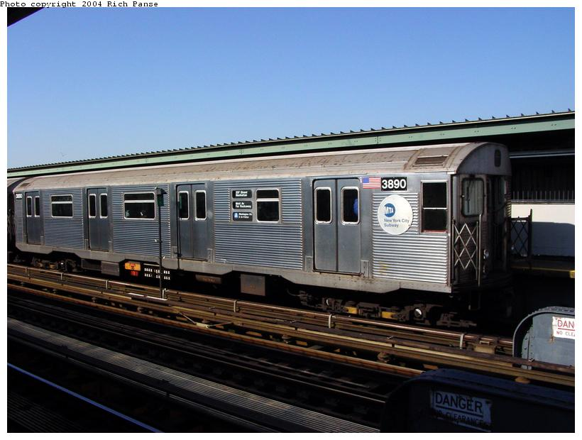 (79k, 820x620)<br><b>Country:</b> United States<br><b>City:</b> New York<br><b>System:</b> New York City Transit<br><b>Line:</b> IND Fulton Street Line<br><b>Location:</b> Rockaway Boulevard <br><b>Route:</b> A<br><b>Car:</b> R-32 (Budd, 1964)  3890 <br><b>Photo by:</b> Richard Panse<br><b>Date:</b> 2/10/2004<br><b>Viewed (this week/total):</b> 0 / 8011
