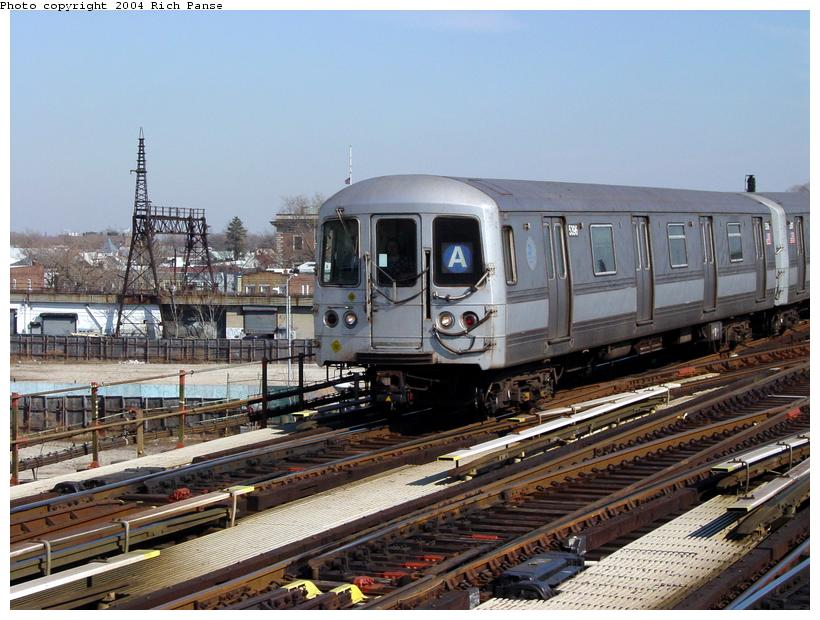 (101k, 820x620)<br><b>Country:</b> United States<br><b>City:</b> New York<br><b>System:</b> New York City Transit<br><b>Line:</b> IND Fulton Street Line<br><b>Location:</b> Rockaway Boulevard <br><b>Route:</b> A<br><b>Car:</b> R-44 (St. Louis, 1971-73) 5396 <br><b>Photo by:</b> Richard Panse<br><b>Date:</b> 2/10/2004<br><b>Viewed (this week/total):</b> 2 / 3015