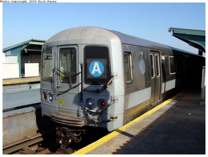 (76k, 820x620)<br><b>Country:</b> United States<br><b>City:</b> New York<br><b>System:</b> New York City Transit<br><b>Line:</b> IND Fulton Street Line<br><b>Location:</b> Rockaway Boulevard <br><b>Route:</b> A<br><b>Car:</b> R-44 (St. Louis, 1971-73) 5366 <br><b>Photo by:</b> Richard Panse<br><b>Date:</b> 2/10/2004<br><b>Viewed (this week/total):</b> 2 / 2572