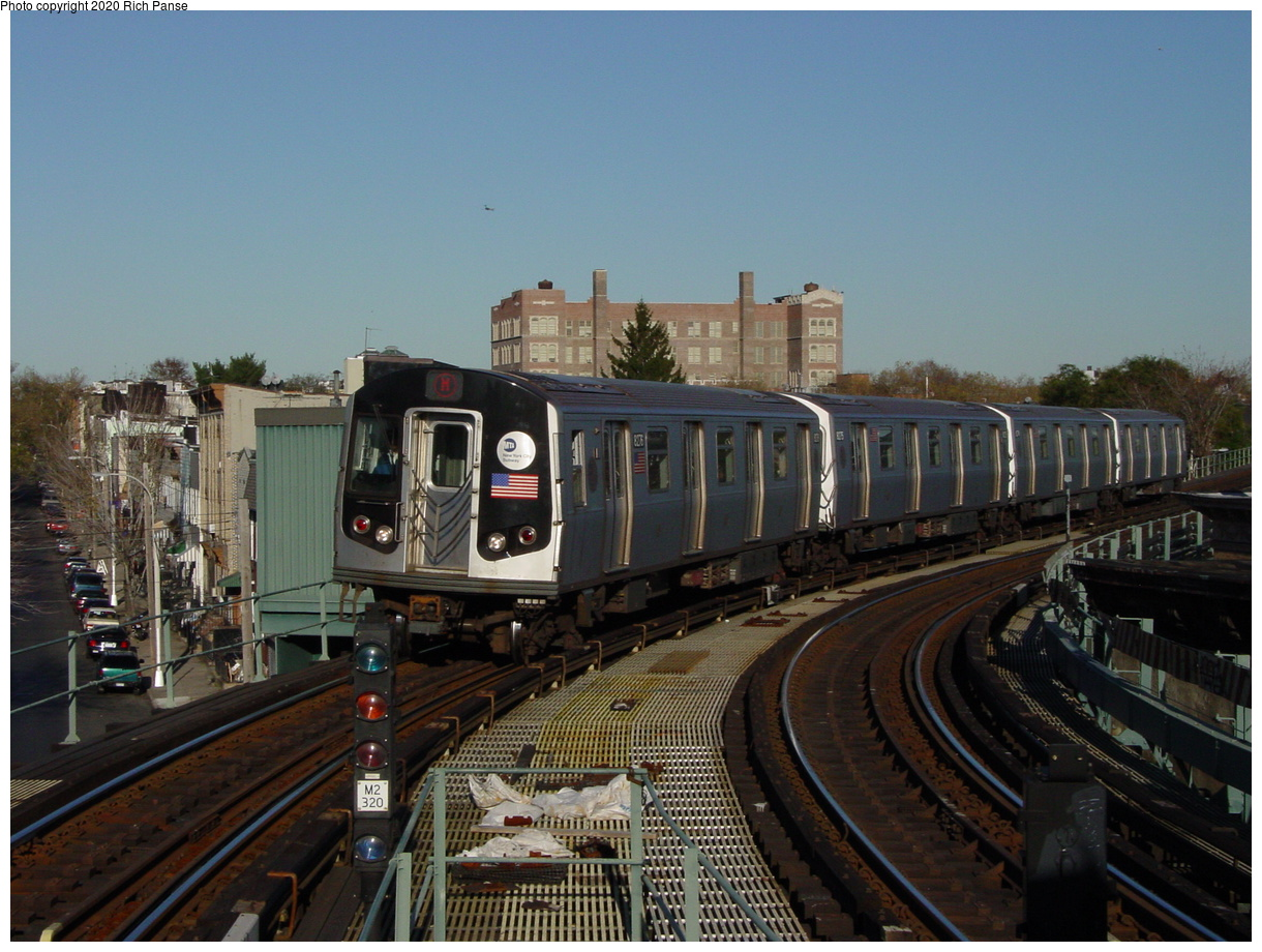 (90k, 820x620)<br><b>Country:</b> United States<br><b>City:</b> New York<br><b>System:</b> New York City Transit<br><b>Line:</b> BMT Myrtle Avenue Line<br><b>Location:</b> Seneca Avenue <br><b>Route:</b> M<br><b>Car:</b> R-143 (Kawasaki, 2001-2002) 8276 <br><b>Photo by:</b> Richard Panse<br><b>Date:</b> 11/9/2003<br><b>Viewed (this week/total):</b> 2 / 4738